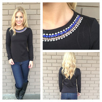 Black Royal Stone Necklace Sweater Top