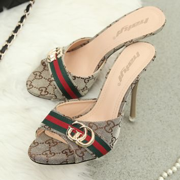 GUCCI High-Heeled Sandals With Waterproof Fashion Fish Mouth Open-Toed Slippers