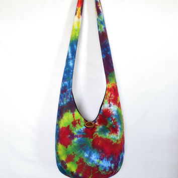 Sling Bag, Hobo Bag, Tie Dye, Colorful, Psychedelic, Rainbow, Green, Red, Hippie Purse, Crossbody Bag