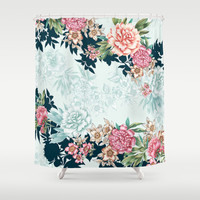 Painted Floral Shower Curtain by Gemma Hodgson Design