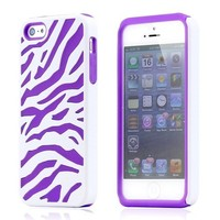 iPhone 5/5S White Purple Dual Layer Zebra Hybrid Soft Silicone Hard PC Case Cover