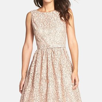 Petite Women's Eliza J Belted Lace Fit & Flare Dress