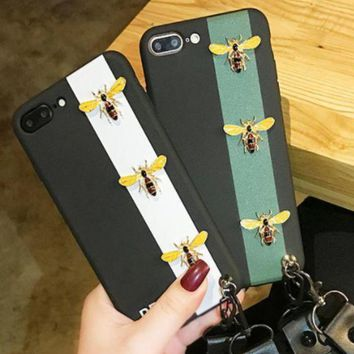 Stripe Bee iphone8plus mobile phone shell luxury female iphone7 soft silica gel full pack Bee creative 6s hanging rope