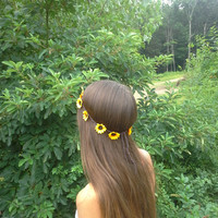 Daisy Flower Crown, Flower Headband, Daisy Head Band, Yellow Daisies, Hippie Headband, Daisy headband, Flower Child, Sunflower Headband