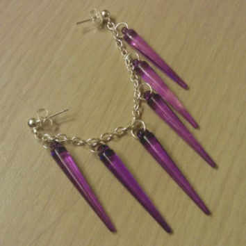 Cartilage to Lobe earring with Purple Spikes (Basketball wives)
