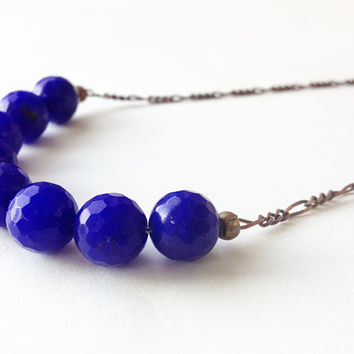 blue sapphire gemstone necklace, long statement necklace - boho jewelry - navy blue agate necklace