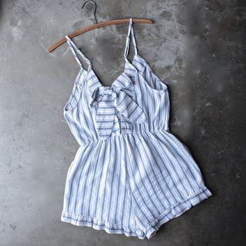 bow back striped front surplice romper with ruffle hem - white/blue