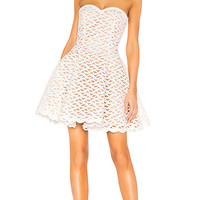 aijek Faith Embroidered Bustier Dress in White | REVOLVE
