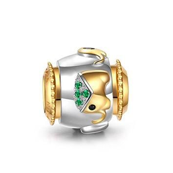 Ninaqueen 925 Sterling Silver Gold Plated Elephant Charms Green Cubic Zirconia Fit Pan