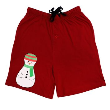 Cute Snowman Matryoshka Nesting Doll - Christmas Adult Lounge Shorts - Red or Black