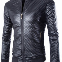 Argyle Design Long Sleeve PU Leather Coat