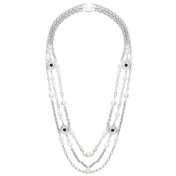 Karine Sultan Pearls and Coins Triple Strand Long Necklace