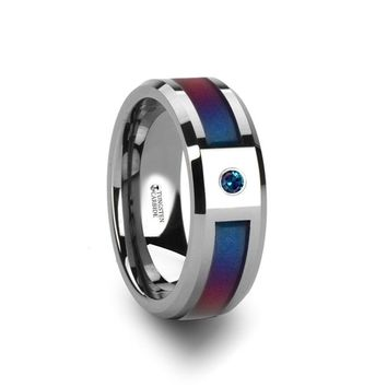 Tungsten Ring with Color Changing Blue Purple Inlay and Alexandrite Gemstone