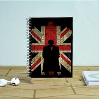 Sherlock Holmes And Union Jack Flag Photo Notebook Auroid