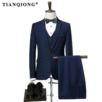 TIAN QIONG Mens Striped Suit  Slim Fit Men Suits