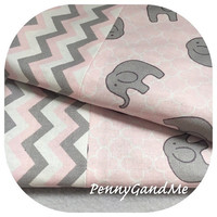 Personalized Minky Elephant Burp Cloths ~ Girl Burp Cloths ~ Pink Elephant Baby Shower ~ Pink and Grey Burp Cloths ~ Set of 2