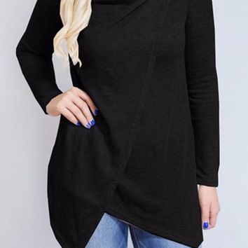 Black Studded Irregular Draped Collar Long Sleeve Casual T-Shirt