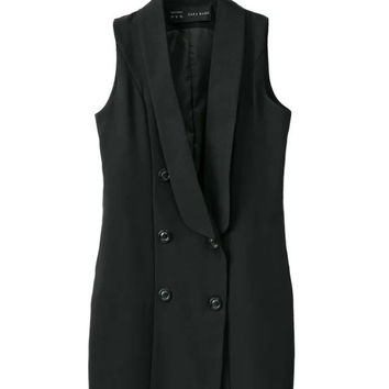 Summer Double Breasted V-neck Sleeveless Simple Vest Skirt One Piece Dress [4917842756]