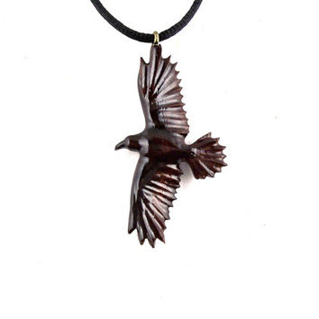 Raven Necklace, Raven Pendant, Wood Raven Necklace, Wooden Raven Pendant, Native American Inspired Pendant, Raven Jewelry, Totem Jewelry