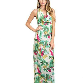 Ark CO Womens Sleeveless Halter Neck Floral Maxi Dress