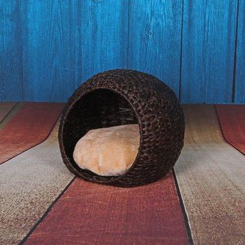 Petpals Group Cosmo Woven Water Hyacinth Cat House With Lounge Space with Pillow Brown 18 x 18 x 15""