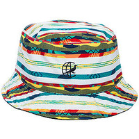The Staple Striped Bucket Hat in White Multi