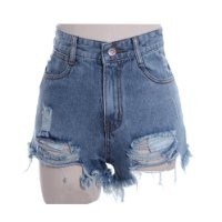 Zeagoo Women's Punk Rock Vintage Grunge Hole Water Wash Retro Shorts Jeans