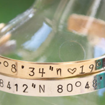 Sterling Silver or Nu Gold Coordinate Cuff Bracelet, Personalized Coordinate Bracelet, Wedding Gift, Longitude and Latitude, Memory Bracelet