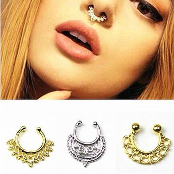 ac ICIKO2Q Fashion new clicker fake nose ring Ear clip Body Jewelry crystal For Women earrings T shape Long Earring Stud Accessories e03