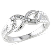 Diamond Accent Infinity Rope Ring in Sterling Silver