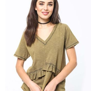 Must Have Ruffle Tee in Olive