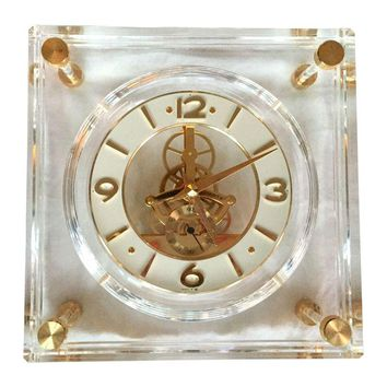 Pre-owned Vintage Lucite and Brass Clock