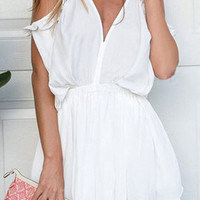 White V-Neck Short Sleeve Off The Shoulder Romper