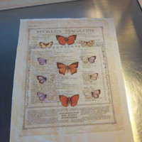 Butterfly quilt block, sew on patch, primitive fabric panel, nature art quilting, cotton quilt square, sewing gift, fabric wall art, decor