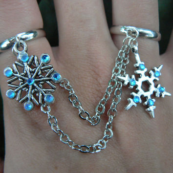 snowflake double ring  FROZEN slave ring double ring rhinestones in frozen winter holiday Christmas boho gypsy hippie and fantasy  style