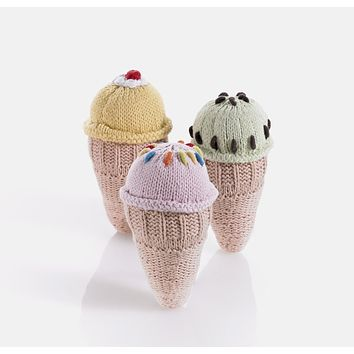 Ice Cream Cone Knitted Baby Rattles- Gift Set of 3 - Fair Trade