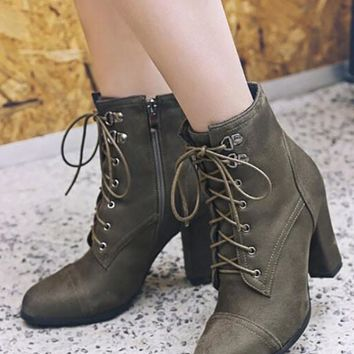 New Army Green Round Toe Chunky Fashion Ankle Boots