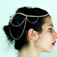 UNIQUE  REAL magpie bird skull head chain in natural bone and metallic gold with gold chainmaille head hair jewelry