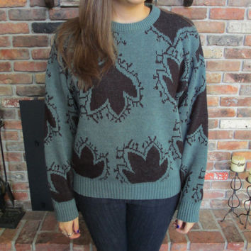Vintage Green and Black London Fog Comfy Grandpa Winter Sweater