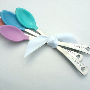 Personalized Baby Spoons - Hand Stamped - Baby Shower Gift - New Baby Gift - New Mom Gift