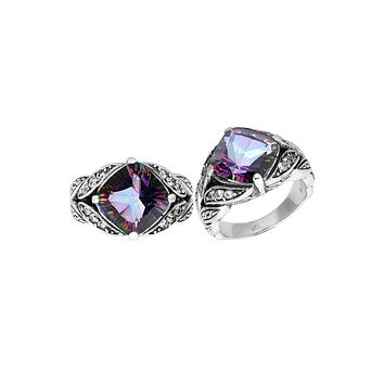 """AR-6233-MT-6"""" Sterling Silver Ring With Mystic Topaz"""
