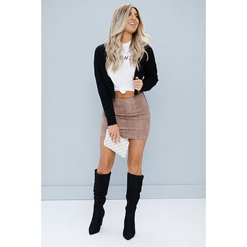 No Room For You Cropped Cardigan Sweater (Black)