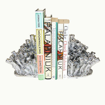White Faux Taxidermy - The Chrome Coral Bookends - Chrome Home Decor - Office Library Decor - Book Storage