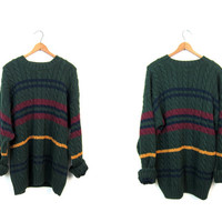 90s Preppy Sweater Oversized Cable Knit Boyfriend Sweater Chunky Striped Green College Prep Pullover Long Knit Sweater Womens Large