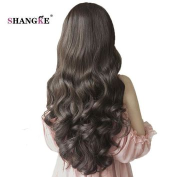LMFOK5 SHANGKE 26'' Long Wavy Half Wigs For Black Women Natural Heat Resistant Synthetic Wigs For African Americans Natural Women Hair