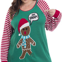 Plus Size Gingerbread Ugly Holiday Sweater