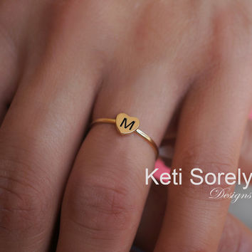Personalized Stackable Small Heart Rings With Engraved Initials - Sterling Silver and 24K Gold Overlay