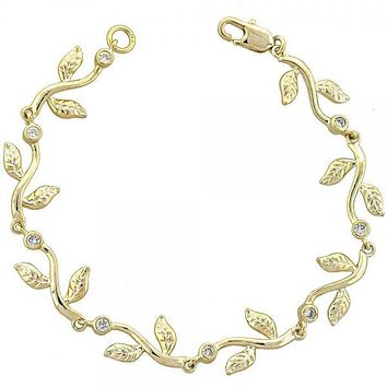 Gold Layered 5.029.013 Fancy Bracelet, Flower and Leaf Design, with White Cubic Zirconia, Diamond Cutting Finish, Gold Tone