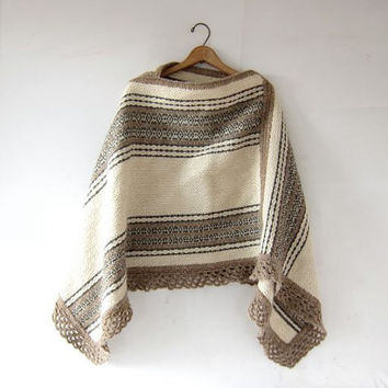 Vintage wool poncho. Warm Fall Sweater Pullover. Crochet knit. Cream Gray Brown pullover sweater. Hand knit shawl poncho.
