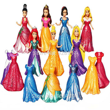 9cm Princess Magic Clip Dress Anime PVC Action Figures Snow White Rapunzel Statue Collectible Dolls Figurines Kids Girls Toys